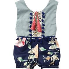 baby rompers   Gotd Baby Girl Romper Sleeveless Floral Jumpsuit Outfits Clothes (12 Months, Blue)