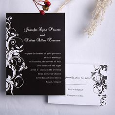 Classic black and white damask wedding invitations EWI023 as low as $0.94