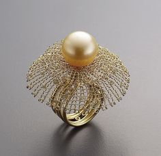 Ring | Sowon Joo.  18k gold, diamonds, pearl.