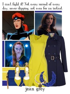 Jean Grey -- 38/50 Favorite Fictional Females by evil-laugh on Polyvore featuring polyvore fashion style French Connection Yumi Steve Madden New Look Humble Chic Alex and Ani clothing