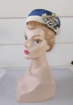 1960s Vintage Blue and White Pillbox Hat with by MyVintageHatShop