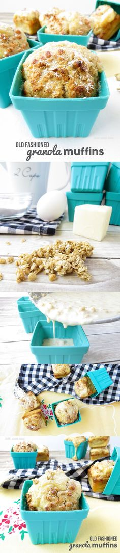 Old Fashioned Granola Muffins. An easy diy recipe idea for homemade muffins. You can't make these from a pre-made box from the store, but you can make something your family will devour in just a few minutes.