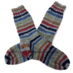 Socks  Hand Knit Men's Primary Color Striped by PointedNeedle, $41.50