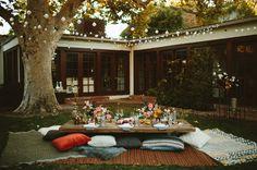 backyard engagement dinner