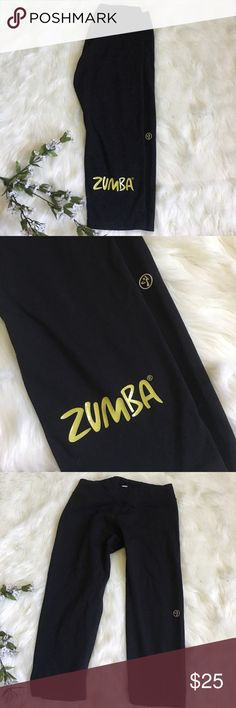 Zumba Capri leggings workout pants Zumba leggings logo, stretchy waist, size small Zumba Fitness Pants Track Pants & Joggers