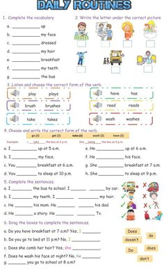 Daily Routines online exercise and pdf. You can do the exercises online or downl… Daily Routines online exercise and pdf. Adjective Worksheet, Family Worksheet, Verb Worksheets, English Worksheets For Kids, English Lessons For Kids, Reading Comprehension Worksheets, English Activities, Alphabet Worksheets, Printable Worksheets