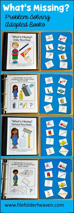 """This Adapted Books Mini-Bundle focuses on """"Wh"""" Questions and problem solving skills.  In these books, students listen to a clue or riddle to answer the questions, """"What's Missing?"""" and """"Where Do We Go?""""  The five adapted books included in this bundle are:  What's Missing? School Routines Edition What's Missing? Recreation Routines Edition What's Missing? Daily Routines Edition Where Do We Go? Our School Edition Where Do We Go? Our Community Edition"""