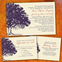 cool tree wedding invitations - Google Search