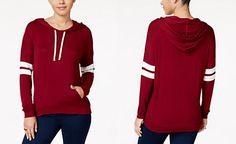 62f3d8dc102e Hippie Rose Juniors  Striped-Sleeve Hoodie Dressy Tops