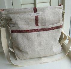 antique linen schoulder bag, cross over, messenger, laptop bag $105