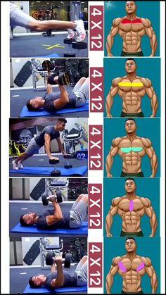 Chest Workouts, Arm Workout Men, Chest Workout For Men, Chest Workout Routine, Push Workout, Ripped Workout, Gym Workout Videos, Abs Workout Routines, Dumbbell Workout