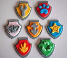 12 X Paw Patrol Cupcake Toppers Comestibles Azúcar Paw Patrol insignias del logotipo Decoración Pasteles