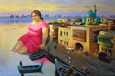 """TIGRIS KHATOUN"" OR ""TIGRIS LADY"" 200x130cm OIL ON CANVAS ""خاتون دجلة"" زيت على القماش By: Mahmoud Abbod 2013"
