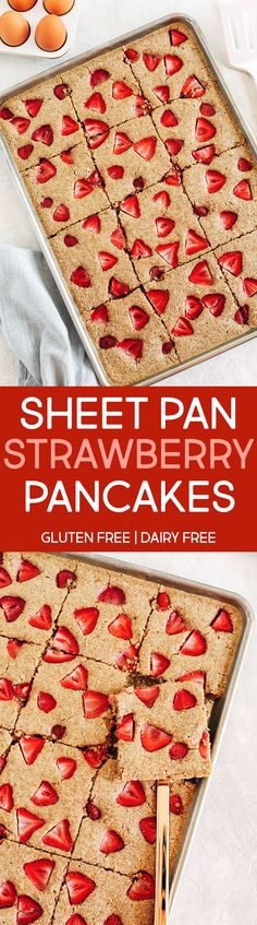 Sheet Pan Strawberry Pancakes (Gluten-Free) - Eat Yourself Skinny Breakfast For A Crowd, Breakfast Bake, Perfect Breakfast, Breakfast Ideas, Breakfast Recipes, Baked Pancakes, Tasty Pancakes, Clean Eating Recipes, Cooking Recipes