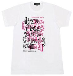 COMME des GARCONS(コムデギャルソン) FREEDOM 手書きブロックロゴTシャツ ホワイト×ブラック×ピンク メンズ
