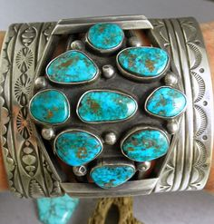 MASSIVE Old Dead Pawn Blue Turquoise Boulder Spiderweb Cuff...from Royston mining district in Nevada