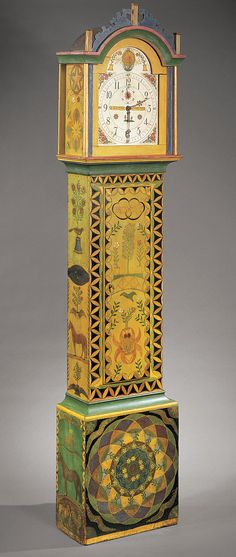 Painted tall clock, New England, ca. 1830; decoration attributed to George Robert Lawton, ca. 1870. by mitzi