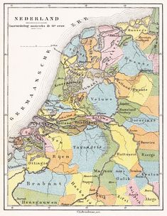 Gouw (Germaans) - Wikipedia Holland Map, European Map, Old Maps, Historical Maps, Cartography, Science Nature, Geography, Netherlands, Vintage World Maps