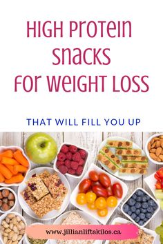 Lose weight by filling up on protein. Stay full for longer with less calories. Trying to increase protein macors? Check out these ideas for high protein snacks for weight loss. High Protein Snacks, Low Carb High Protein, High Protein Meal Prep, Best Protein, High Protein Recipes, Protein Foods, Healthy Snacks, Healthy Recipes, Snack Recipes