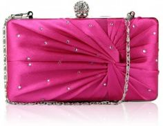 A glamorous pink satin hard case box clutch bag with diamantes and ruched detail to the front.  Plain pink satin to the back.  Though this bag is rectangular when looking at it face on, the back has slight padding which gives it a luxury feel and rounded shape from the side.  Silver frame and clasp closure with diamante detailing.  2 detachable silver link chains measuring 40cm and 120cm.  Pink satin lining and internal pocket.  Size (cm): 18 wide x 11 high x 5 deep