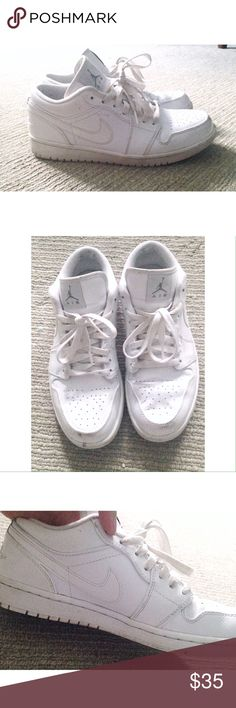 Nike Air Jordans - White White Nike Air Jordan casual basketball sneakers. Men's 8/Women's 10. Worn many times. Re-posh. Nothing wrong with them, they're just too small for me. White has been darkened a bit from wear, but nothing major. Some smudges in particular. Open to offers. 😊 Nike Shoes Sneakers