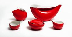 """Lubomir Tomaszewski, """"Ina"""" coffee set, made by the Industrial Design Institute in Warsaw, produced by the Ćmielów Porcelain Tableware Factory, 1962"""