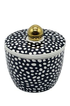 Black/White Decorative Ceramic Polka Dot Canister by SAGEBROOK HOME on @HauteLook