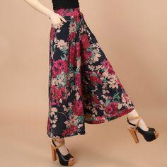 2017 Summer Autumn Casual Pants Women Trousers 14 Colors Print Female Wide Leg Pants Loose Pants Culottes Clothing Plus Size #Affiliate