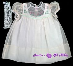 Gorgeous Special Occasion Dress, Easter Dress and/or gift. Handmade in the Philippines, Very sheer Pink with hand embroidered green and pink