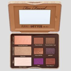 Our peanut butter and jelly palette of nine gorgeous matte and shimmer eyeshadow shades feature antioxidant-rich cocoa powder with a creamy peanut butter twist! Includes Too Faced Glamour Guide to get you started. Too Faced Too Faced Eyeshadow, Creamy Eyeshadow, Best Eyeshadow, Shimmer Eyeshadow, Too Faced Lidschatten, Makeup Palette, Eyeshadow Palette, Maquillage Too Faced, Too Faced Peanut Butter