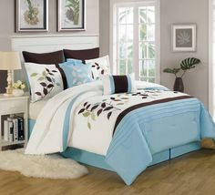 12 Piece King Evie Leaf Embroidered Bed in a Bag Set Comforter Cover, Comforter Sets, Duvet Covers, Embroidered Bedding, Online Bedding Stores, Bed In A Bag, Leaf Design, Bed Spreads, Decorative Pillows