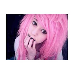Emo ❤ liked on Polyvore featuring hair, people, girls, pictures, pink hair and fillers