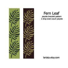 Fern Leaf  2Drop Peyote Bracelet Pattern  INSTANT von lariata, $5.99
