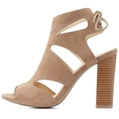Charlotte Russe Caged Peep Toe Booties ($36) ❤ liked on Polyvore featuring shoes, boots, ankle booties, taupe, faux-fur boots, peep toe booties, peep toe boots, taupe boots and chunky booties
