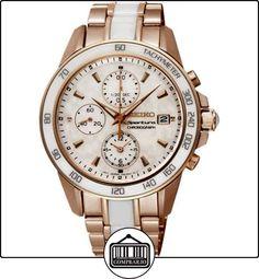 SEIKO SNDW98P1 - Reloj de señora, cronógrafo 100 M de acero, color rosa, cerámica  ✿ Relojes para mujer - (Gama media/alta) ✿