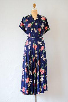 vintage 1940s royal blue rose fan print rayon dress