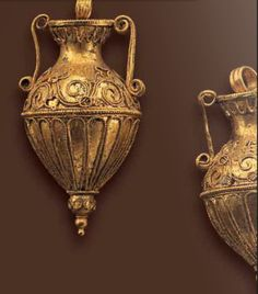Pair of Amphora pendants, Greek late 4th century B.C.