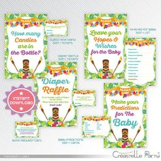 hawaiian luau baby shower printable games package 1 instant download