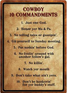 """(RE1529) """"Cowboy 10 Commandments"""" Tin Sign  12"""" x 17"""""""
