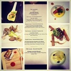 A collage of all the courses from our pop up dinner.