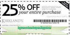Kirklands Coupons Ends of Coupon Promo Codes JUNE 2020 ! Printable Coupons, Free Printable, Taco Bell Coupons, Promotion Code, All Family, Clothing Labels, Plus Size Womens Clothing, Marketing Materials, Custom T