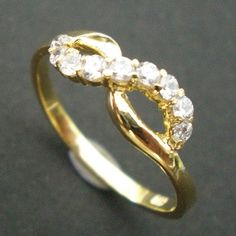 Forever Young Infinity Knot Ring - Yellow Gold Coated Created Diamond CZ - Valentines Day, Spring Wedding, Mother Day Gift