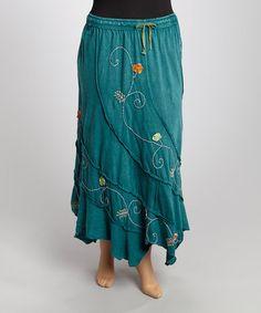 This Blue & Green Stonewash Embroidered Handkerchief Skirt - Plus is perfect! #zulilyfinds