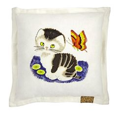 Shy Little Kitten Square Throw Pillow  | The Land of Nod