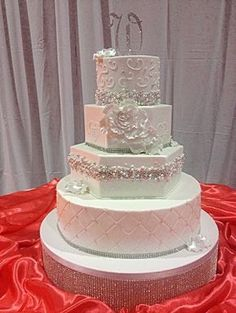 Classic white wedding cake with bling - A Skilled and Insightful Baker is the Icing on Your Wedding Cake
