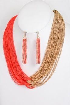 Tangerine Orange Golden Bulky Linked Chain Necklace & Earring Set