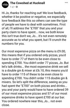 """During more """"normal times"""" we relish seeing restaurant owners call out unreasonable customers for bullshit reviews. Today we come to you with a classic Karen tale from Hucknall in the UK. This Karen, whose real name is Jo, took to Facebook to express her dismay at being kicked out of a restaurant after spending £700 on a birthday celebration at the venue. The restaurant clapped back. #lol #cringe #wtf #karens #fail Types Of People, We The People, Funny Fails, Funny Memes, Jokes, Tumblr Stories, Time In The World, Epic Fail Pictures, Call Her"""