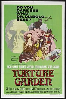 TORTURE GARDEN was an anthology film directed by Freddie Francis and written by Robert Bloch. Horror Movie Posters, Horror Films, Horror Comics, Short Horror Stories, Classic Horror Movies, Baba Yaga, Robert Bloch, Jack Palance, Anthology Film