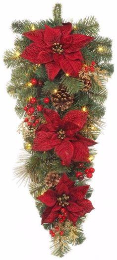 Pre-Lit LED Gold Glitter Cedar and Mixed Pine Teardrop with Burgundy Poinsettias #PreLit #LED #Gold #Glitter #Cedar #Mixed #Pine #Teardrop #Burgundy #Poinsettias #ChristmasDecor #HomeAccents #ChristmasLights #HomeDecor #Holiday #HolidayDecor #Seasonal #Shopping #HolidayAccents