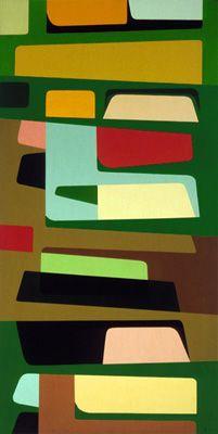 Karl Benjamin: Landforms, oil on canvas, 122 x 61 cm (48 x 24 in), 1956